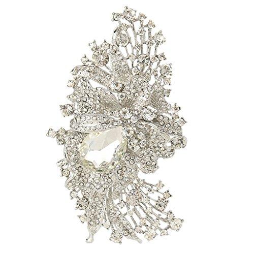 (EVER FAITH 4.5 Inch Bridal Silver-Tone Flower Brooch Pendant Austrian Crystal)