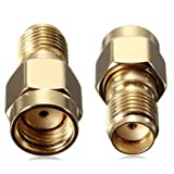 BlueBeach® Pack of 2 Adapter Connector Converter RP-SMA Male (No Pin) to SMA Female (No Pin) for Antenna Plug Coaxial Coax