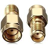 BlueBeach® Lot de 2 Adaptateur Connecteur Convertisseur RP-SMA Mâle (Non Pin) à SMA femelle (Non Pin) pour antenne connecteur coaxial Coax