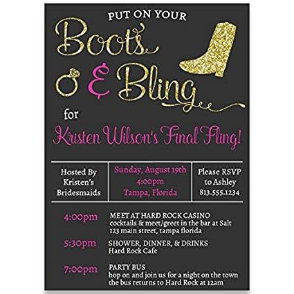 Amazon Com Bachelorette Party Invitations Boots And Bling Last