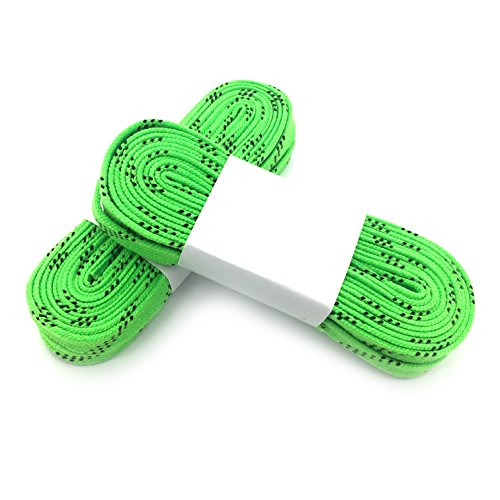 Linkin Sport Waxed Hockey lace,Vary Colors, for Ice Hockey, Skates, Roller, 2 Pack (Light Green, 84in) (Green Roller Skate Laces)