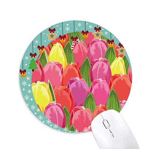- Watercolor Plant Flower Tulip Mouse Pad Jingling Bell Round Rubber Mat