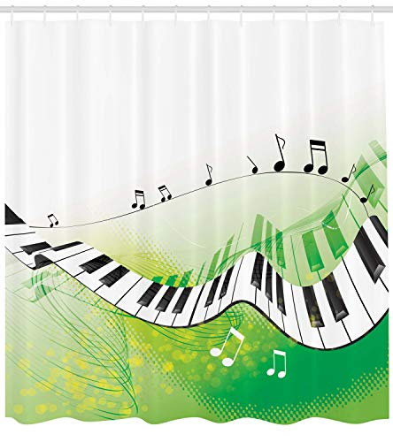 "Ambesonne Music Shower Curtain, Music Piano Keys Curvy Fingerboard Summertime Entertainment Flourish, Cloth Fabric Bathroom Decor Set with Hooks, 75"" Long, Green Black"