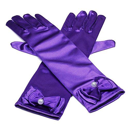 RUNHENG Kids Stretchy Satin Long Finger Dress Gloves, 11.4 Inch (Kids Elbow Gloves)