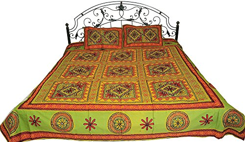 Bedspread from Gujarat with Embroidered Flowers and Mirrors - Pure Cotton with Pillow Covers - Color Jade Green Color by Exotic India