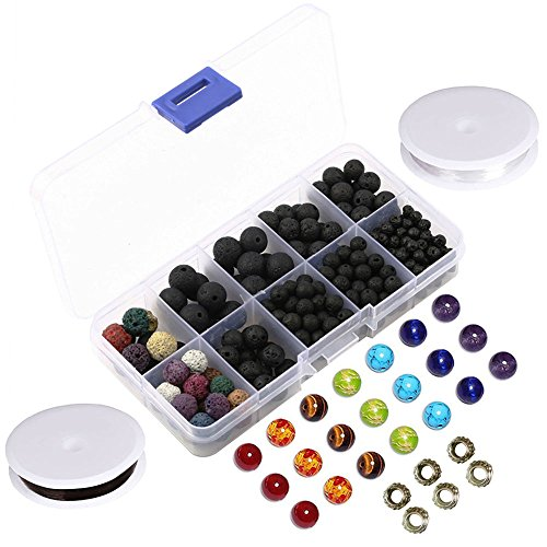 Lava Bead Kit, 300 Black Colored Loose Volcanic Lava Rock Stone Bead Balls Kit Set | 21 Chakra Beads | 6 Spacer Beads | 2 Crystal Strings | Natural for Essential Oil Jewelry Making by Afantti Colored Agate