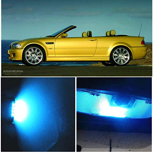 WLJH 10pieces Ice Blue Super Bright 2835 Chip Bulb lighting Error Free Canbus Car light Package for BMW 3 Series - E46 M3 convertible 1999-2005 + Tag ()