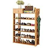creative shoe storage FKUO Multi-Layer Shoe Rack Simple Household Storage Cabinet Shoe Cabinet Economic Storage Shelf Multi-Function Wooden Dust-Proof Shoe Rack (Level 6, Red Leaf Maple)