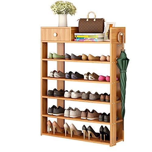 FKUO Multi-Layer Shoe Rack Simple Household Storage Cabinet Shoe Cabinet Economic Storage Shelf Multi-Function Wooden Dust-Proof Shoe Rack (Level 6, Red Leaf Maple)