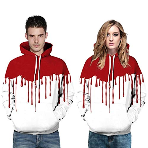 Ruffled Boyshorts Halloween (haoricu Couple Sports Hoodie Men Women Halloween Blood Handprint 3D Printing Pullover Autumn New Sweatshirt)