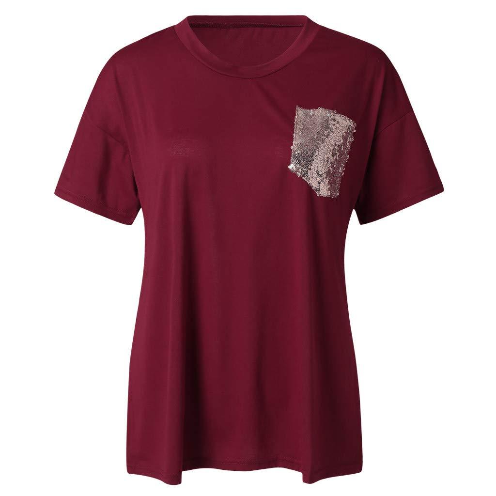 Dorical Camiseta De Las Mujeres Blusa Verano Moda Casual Simple Color S/ólido Bolsillo De Lentejuelas con Cuello En V Manga Corta Suelta Slim Fit Tops Camisa