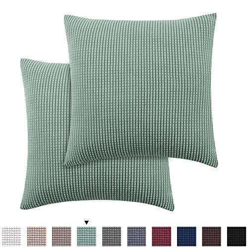 H.VERSAILTEX Pillow Protectors 2 Pack Premium High Stretch Jacquard Lycra Pillow Cases Decorative Pillow Covers 18x18 inch, Sage