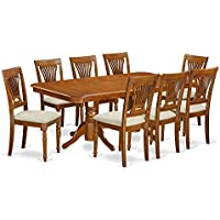 East West Furniture NAPL9-SBR-C 9-Piece Dining Table Set