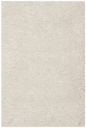 Safavieh Venice Shag Collection SG256P Handmade Pearl Polyester Area Rug (2' x (Wool Area Accent)