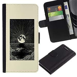 APlus Cases // Sony Xperia Z1 Compact D5503 // Gráfico Arte Luna Negro Blanco Mar // Cuero PU Delgado caso Billetera cubierta Shell Armor Funda Case Cover Wallet Credit Card