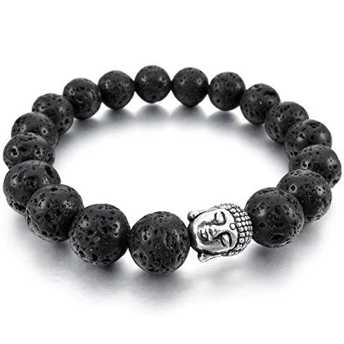 INBLUE Women,Men's 10mm Wide Alloy Energy Bracelet Bangle Link Wrist Energy Stone Simulated Lava Rock Black Silver Tone Buddha Mala Bead Elastic (Rock Simulated)