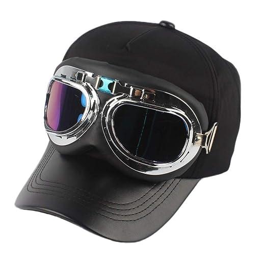 777c1634344af9 Image Unavailable. Image not available for. Color: Unisex Fashion Retro  Pilot Glasses Baseball Hat Solid Cap ...