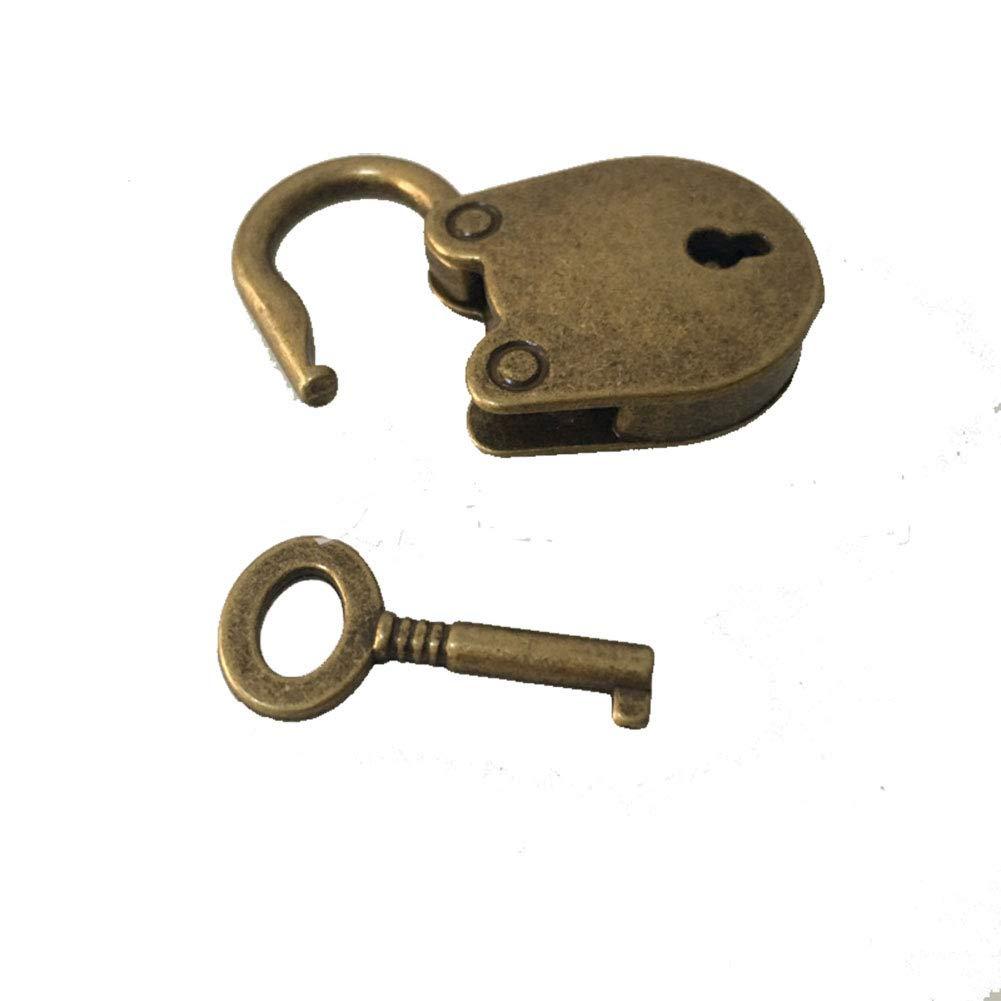 Egurs Vintage Mini Bear Head Archaize Bronce Candados Bloqueo de Teclas con Teclas para Bolso//Equipaje peque/ño//Diario de artesan/ía peque/ña//Juguete//Caja