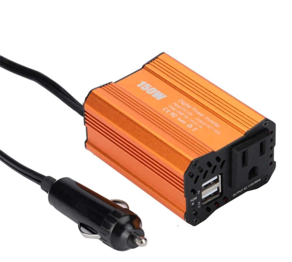 150W Power car onduleur AC voiture onduleur, Power Converter Booster avec 2.1 A Dual USB car adapte,Gold