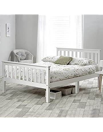18b00a303173 Double Bed Wooden Frame 4ft6 Double Wooden Bed in White For Adults, Kids,  Teenagers