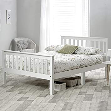 Double Bed Wooden Frame 4ft6 Double Wooden Bed In White For Adults Kids Teenagers 4FT6