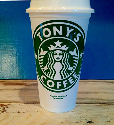 STARBUCK's 16 oz. Reusable Travel Mug & Lid Personalized with Your Name or Phrase & Drink Type