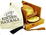 Kitchen Naturals Premium Bamboo Bread Slicer, With Different Slicing Sizes, Built In Knife Rest, Foldable Design With Storage Tote Bag And With FREE GIFTS