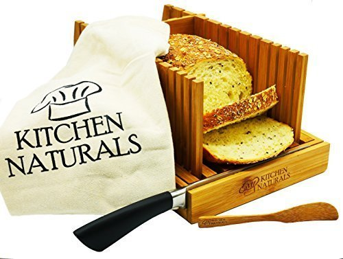Kitchen Naturals Premium Bamboo Bread Slicer, With Different Slicing Sizes, Built In Knife Rest,...