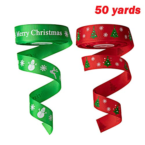 SoFire 2 Rolls 1 Inch Wide 50 Yards Red and Green Christmas Pattern Printed Christmas Grosgrain Ribbon for Gift Wrapping DIY Craft