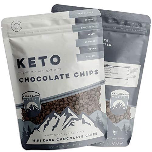 Mini Dark Chocolate Chips 2 Pack 12 Oz Healthy, Low-Carb Keto Snacks for Weight-Loss, Dieting, Baking Vegetarian, Vegan, Kosher, Gluten Soy Dairy & Sugar-Free, Non-GMO Balanced Sweetness & Cacao Taste ()