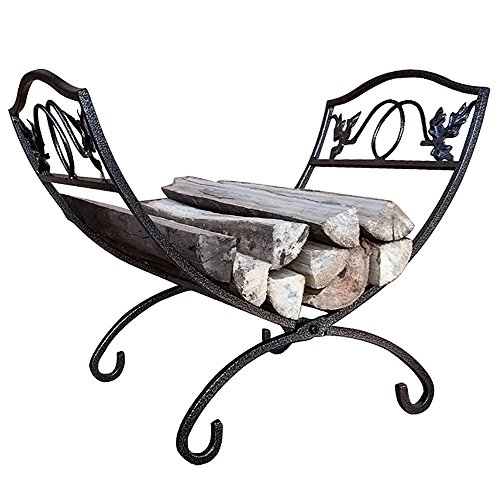 Log Holder Rack (Fireplace Log Holder Rack Fireset Birch Logs Carrier and Holder Tools Pewter Firewood Rustic Fire Wood Caddy Indoor Metal Kindling Bucket Wrought Iron Tool Set Accessories by Outdoor Round)