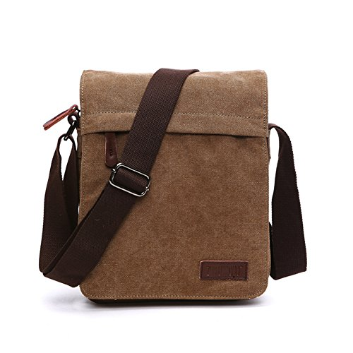 Sechunk Small Vintage Canvas Messenger Cross body bag Shoulder bag (m_Brown, middle) ()