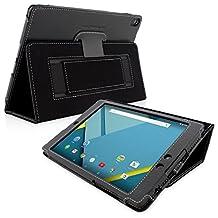 Nexus 9 Case, Snugg - Black Leather Smart Case Cover [Lifetime Guarantee] Nexus 9 Nexus 9 Protective Flip Stand Cover with Auto Wake / Sleep
