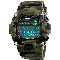 De los hombres LED Digital Reloj Deportivo electrónica, impermeable Casual correa de muñeca militar camuflaje Boys Reloj con Banda de silicona luminoso Ejército relojes