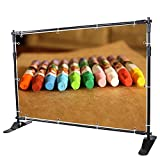 8' Background Banner Stand Adjustable Trade Show Wall Exhibitor Photographic Jumbo Telescopic Display Step and Repeat Stand, Black