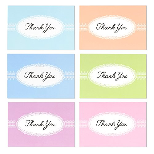 48 Pack Thank You Greeting Cards 6 Pastel Lace Greeting Cards Assortment Includes Corresponding Greeting Card Envelopes 4 x 6 inches Photo #6