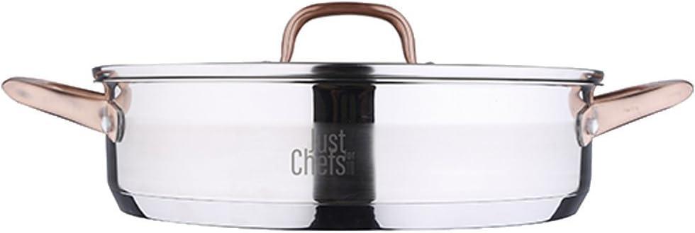 Bergner Just For Chefs Q2900 - Cacerola Baja 28 cm, 3.8 l, Acero Inoxidable Inducción Tapa Infinity, Cromado