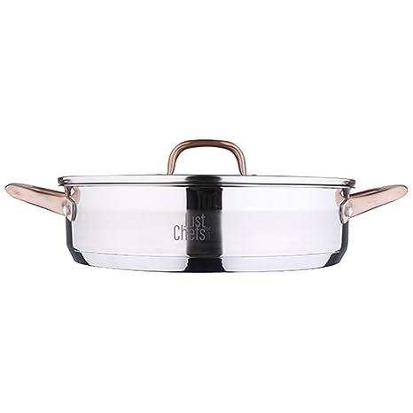 Just For Chefs Q2900 Cacerola Baja 28cm 3.8l Acero Inoxidable inducción Tapa Infinity, Cromado