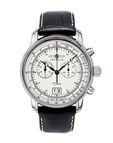 Graf Zeppelin Chronograph Big Date Watch with 12-hr Totalizer, Leather Strap 7690-1