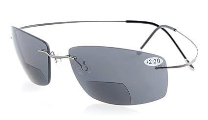 Eyekepper titanio sin montura UV400 polarizado Bifocal sol lectores bifocales gafas de ...
