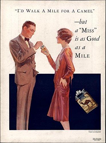 Walk a Mile for Camel Cigarettes Smoking 1929 vintage color Advertisement (Camel Cigarettes Memorabilia)