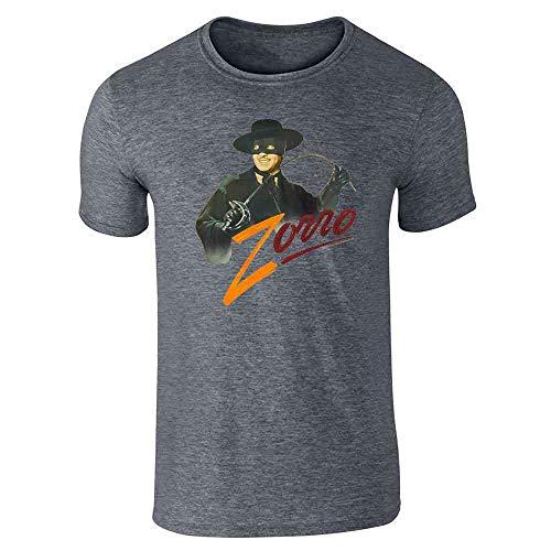 Zorro Tyrone Power Retro Halloween Costume Dark Heather Gray 2XL Short Sleeve T-Shirt]()
