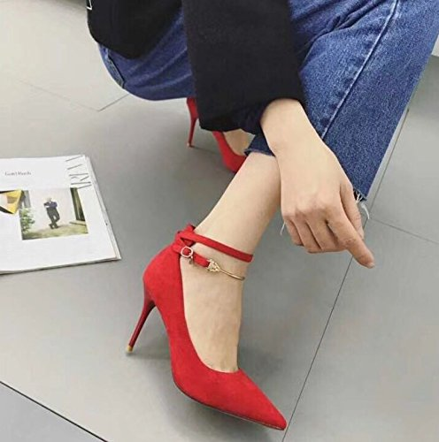 8 Occupation Fashion MDRW 5Cm Elegant Leisure Shoes Buckle Tip Match 38 Spring Shoes Lady Suede Red All Work Heels A Rg0wFR