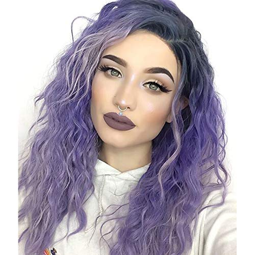 GNIMEGIL Fashion Long Water Wave Hair Replacement Wigs Purple Highlight Ombre Hair in Heat Resistant Fiber Synthetic Wigs for Women Halloween Accessories Cosplay Wig ()