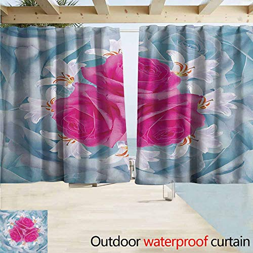 AndyTours Rod Pocket Curtains,Rose Graphic of Roses and Lilies with Soft Pastel Colors Nature Blooms Springtime Theme,Rod Pocket Energy Efficient Thermal Insulated,W55x39L Inches,Fuscia Blue