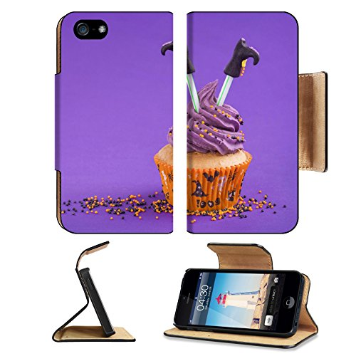 [Luxlady Premium Apple iPhone 5 iphone 5S Flip Pu Leather Wallet Case iPhone5 IMAGE ID: 22167569 Halloween cupcake with witch] (Easy Decorated Halloween Cupcakes)