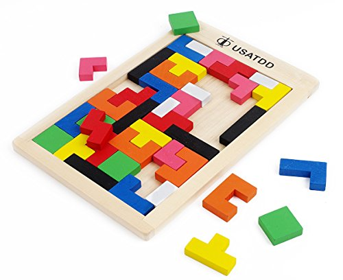USATDD Wooden Tetris Puzzle Tangram Jigsaw Brain Teasers Toy Building Blocks Game Colorful Wood Puzzles Box Educational Gift For Kids 40 ()