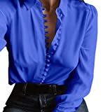 Vcenty Casual Sexy Loose Solid Long Sleeves Blouse,V Neck Chiffon Shirts (Blue, 2XL)