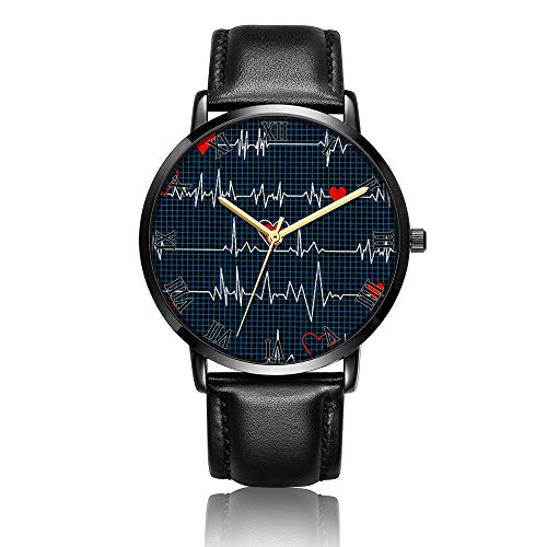 TobyFord Customized Wrist Watch, Electrocardiogram Pattern Design Analog Quartz Wrist Watch for Women and Men, Durable Personalized PU Leather Wrist Watch Classic Fashion Watch for Couples and Lovers