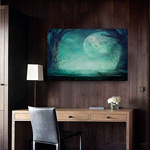 duommhome Halloween Wall Art Decor Poster Painting Spooky Teal Forest Moon and Vain Branches Mystical Haunted Horror Rustic Imagery Print Decorations Home Decor 32
